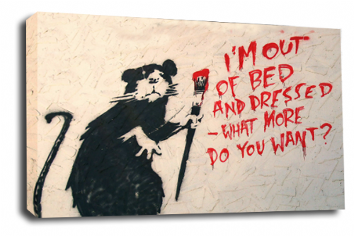 Banksy Art Floating Student Lazy Rat Canvas Peace Love Picture